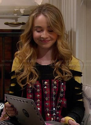 "Maya's black cutout sweater with plaid ""LOVE"" graphic on Girl Meets World"