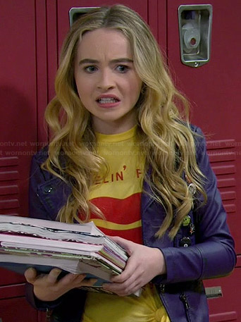 Maya's yellow lips graphic tee and purple leather moto jacket on Girl Meets World