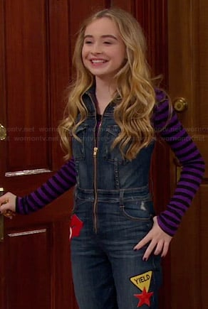 Maya's denim zip front jumpsuit and zebra patterned ankle boots on Girl Meets World