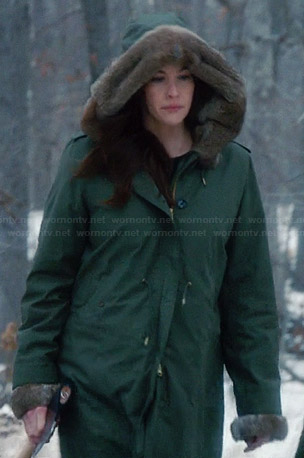 Wornontv Meg S Green Coat With Fur Hood On The Leftovers