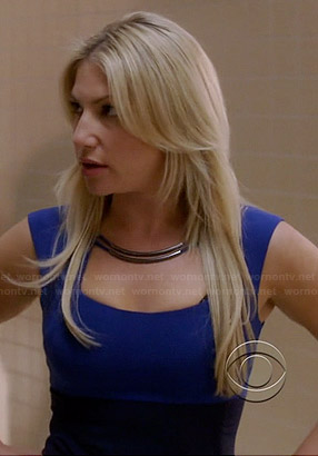 Meredith's blue metal keyhole dress on Bad Teacher