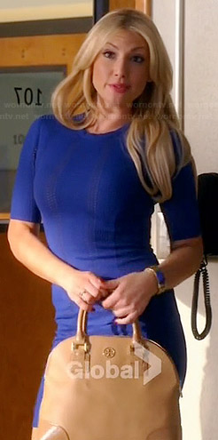 Meredith's blue perforated dress and beige dome bag on Bad Teacher