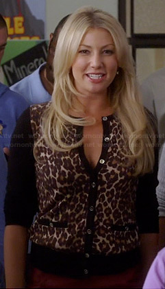 Meredith's leopard print cardigan with black sleeves and red leather skirt on Bad Teacher