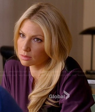 Meredith's purple blouse with leather shoulders and pocket on Bad Teacher