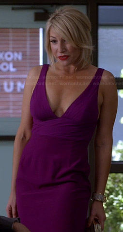 Meredith's purple plunge neck dress on Bad Teacher