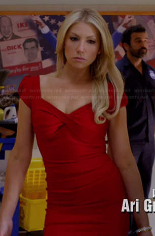 Meredith's red cap sleeve dress on Bad Teacher
