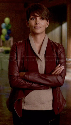 Molly's oxblood draped front leather jacket on Extant