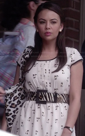 Mona's cat printed dress on Pretty Little Liars