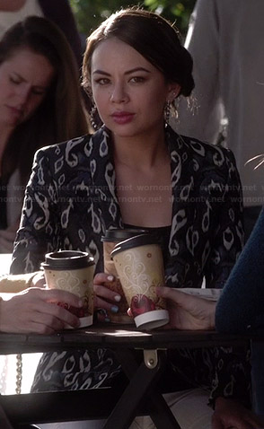 Mona's black and blue ikat print blazer on Pretty Little Liars