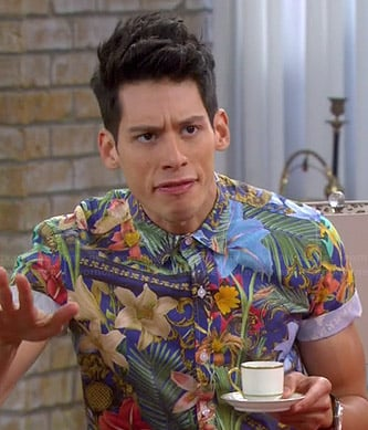 Nick's tropical printed short sleeve shirt on Mystery Girls