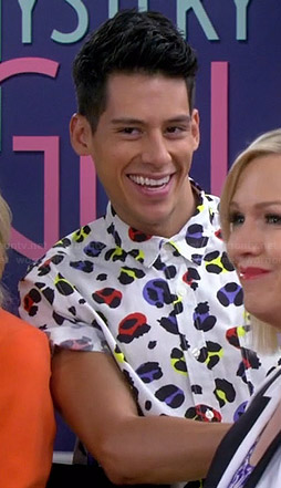 Nick's multi colored leopard print shirt on Mystery Girls