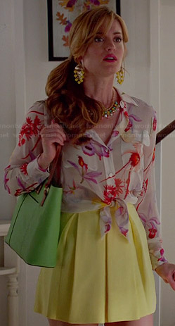 Paige's floral tie-front shirt, yellow pleated skirt and green tote on Royal Pains