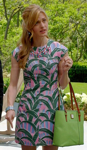 Paige's pink and green tropical leaf print dress on Royal Pains