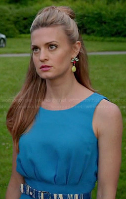 Paige's blue pleated playsuit and multi colored earrings on Royal Pains