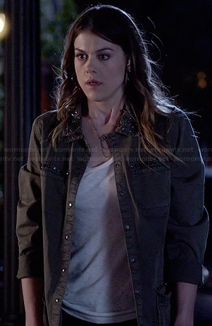 Paige's green studded jacket on Pretty Little Liars