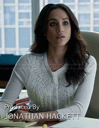 Rachel's white leaf embroidered cardigan on Suits