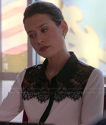 Raquel's white blouse with black lace panel on Chasing Life
