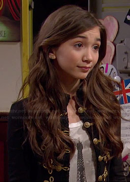Riley's Eiffel Tower tee and black military jacket on Girl Meets World