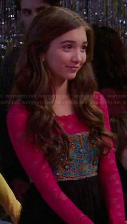 Riley's blue and black embellished dress with pink lace top at the dance on Girl Meets World