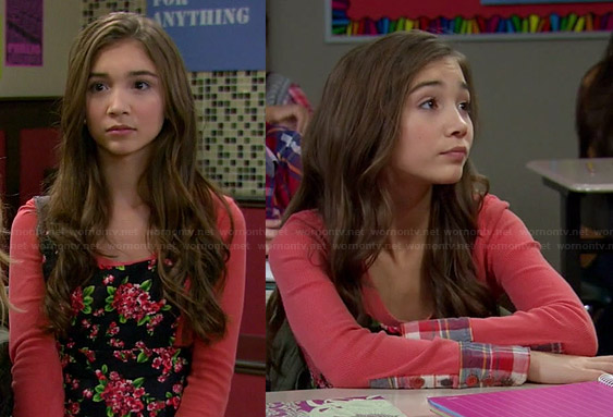 Riley's orange long sleeved top with plaid cuffs and floral cross-back dress on Girl Meets World