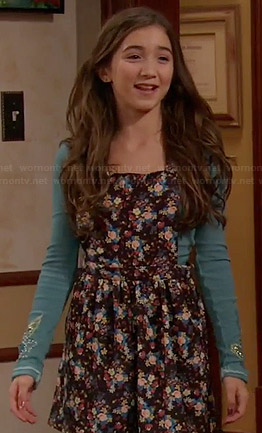 Riley's floral overall dress and black ankle boots on Girl Meets World