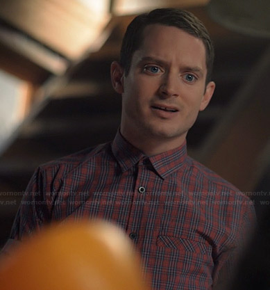 Ryan's red plaid short sleeve shirt on Wilfred