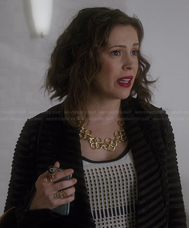 Savi's geometric printed top and black striped jacket on Mistresses