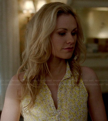 Sookie's yellow floral shirtdress on True Blood
