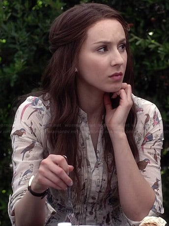Spencer's bird printed top on Pretty Little Liars