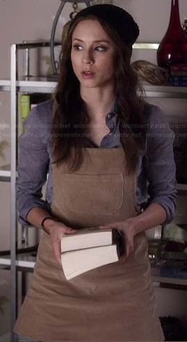 Spencer's corduroy overall dress on Pretty Little Liars