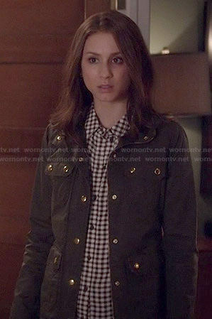 Spencer's black and white gingham check shirt and green jacket on Pretty Little Liars