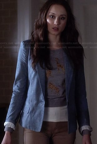 Spencer's grey animal graphic printed sweater and chambray blazer on Pretty Little Liars
