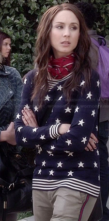Spencer's blue star print sweater on Pretty Little Liars