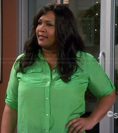Yolanda's green button front shirt on Young and Hungry
