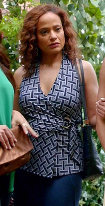 Zoila's blue lattice printed wrap top on Devious Maids