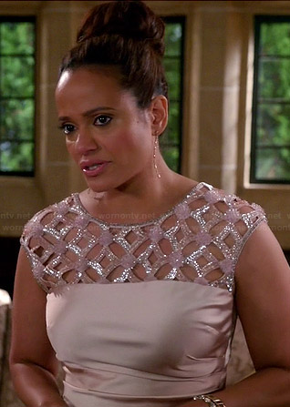 Zoila's sequinned lattice yoke dress on Devious Maids