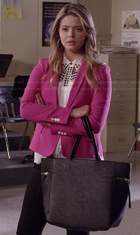 Ali's white studded cutout top and pink blazer on Pretty Little Liars
