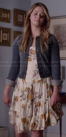 Ali's cream floral dress on Pretty Little Liars