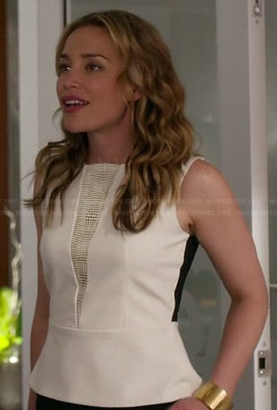Annie's white peplum top with black back on Covert Affairs