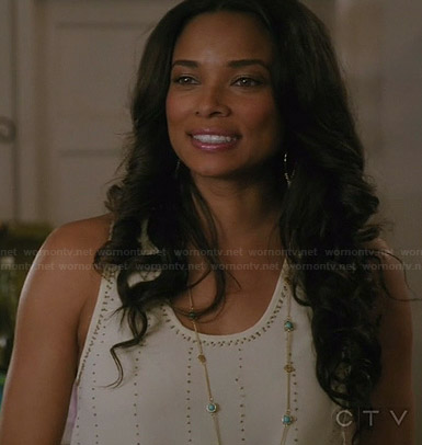 April's white beaded tank top on Mistresses