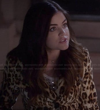 Aria's leopard fur jacket on Pretty Little Liars