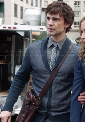 Auggie's blue shawl collar cardigan on Covert Affairs