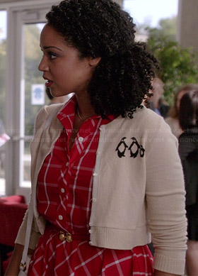 Beth's red checked shirtdress and penguin cardigan on Chasing Life
