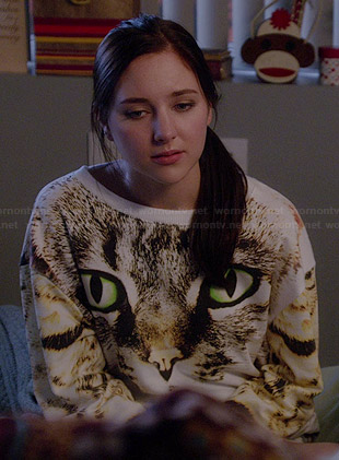 Brenna's cat face sweatshirt on Chasing Life