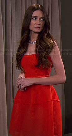 Caroline's red fit and flare dress on Young and Hungry