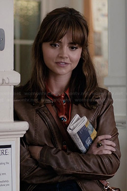 Clara's brown leather jacket on Doctor Who