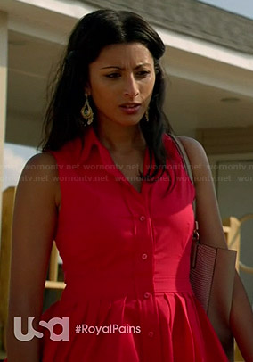 Divya's red shirtdress on Royal Pains