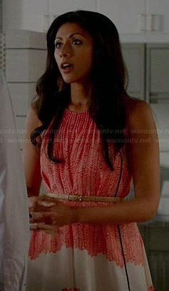 Divya's red and white printed dress on Royal Pains