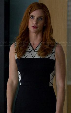 Donna's black and white dress with triangle print panels on Suits