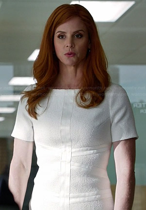 Donna's white tweed dress on Suits